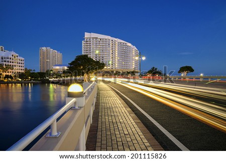 View of Brickell Key condos in downtown Miami at dusk.  - stock photo