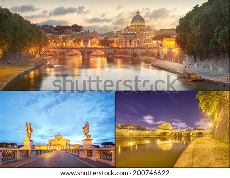 View of bridge of the Holy Angels, Ponte Sant'Angelo and Vatican view from Umberto Bridge after sunset, Rome, Italy - stock photo