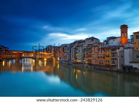 View of bridge Ponte Vecchio. Florence, Italy - stock photo