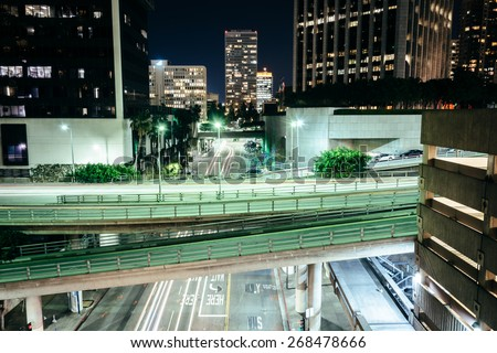 View of bridges over Flower Street at night, in downtown Los Angeles, California.