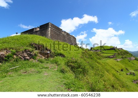 View of Brimstone Hill Fortress National Park - St Kitts - stock photo