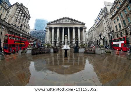 View of British financial heart, Bank of England and Royal Exchange. Shot made fisheye lens - stock photo