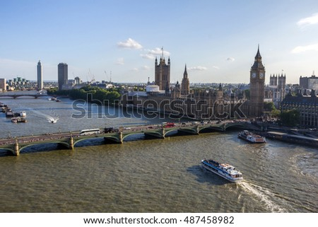 View of British Parliament from London Eye in London, England