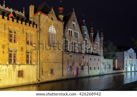 view of Bruges canal in city center at evening, Belgium - stock photo