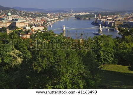 View of Budapest and the Danube River as seen from Gillert Hill. The Chain and Margaret Bridges can be seen from this vantage point. Budapest Hungary.