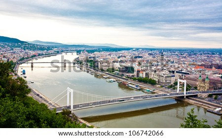 View of Budapest and the river Danube from the Citadella, Hungary - stock photo