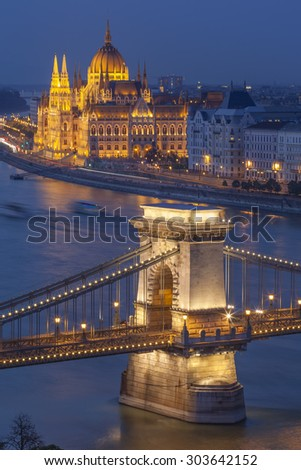 View of Budapest, Hungary, with the Chain Bridge and the Parliament