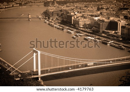 View of Budapest  in sepia