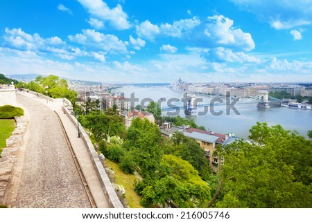 View of Budapest over Danube and Chain bridge from Buda castle hill in summer in Budapest, Hungary - stock photo