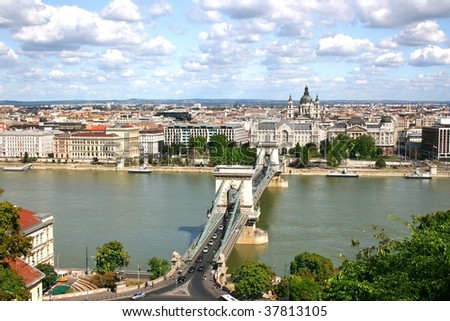 View of Budapest over the River Danube from Castle Hill. Hungary - stock photo