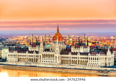 View of Budapest parliament at sunset, Hungary - stock photo