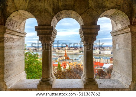 View of Budapest parliament through the Fisherman's Bastion, Hungary