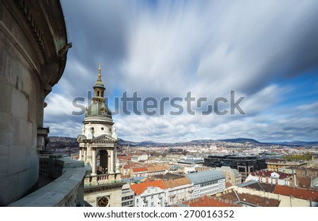 View of Budapest taken from the top of St. Stephen's Basilica, Hungary - stock photo