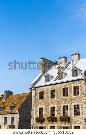 View of building in Old Quebec City Canada - stock photo