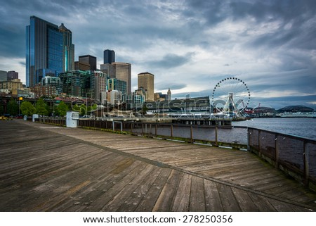 View of buildings in downtown Seattle from Piers 62 and 63, on the waterfront, in Seattle, Washington. - stock photo