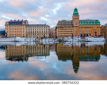 View of buildings in Gamla Stan in Stockholm, Sweden at dawn