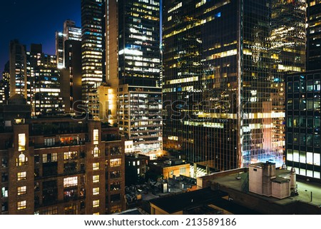 View of buildings in the Turtle Bay neighborhood at night, from a rooftop on 51st Street in Midtown Manhattan, New York.