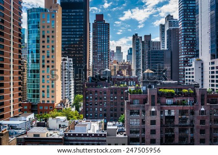 View of buildings in the Turtle Bay neighborhood, from a rooftop on 51st Street in Midtown Manhattan, New York. - stock photo