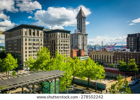 View of buildings near Pioneer Square, in Seattle, Washington. - stock photo