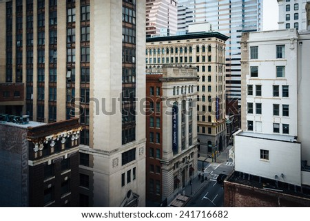 View of buildings on Calvert Street from a parking garage in Baltimore, Maryland. - stock photo
