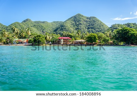 View of buildings on the coast of tropical island San Andres y Providencia, Colombia - stock photo