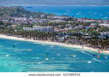 View of Bulabog beach, one of the most sought-after spots for kiteboarding and windsurfing, Boracay island, Philippines.  - stock photo
