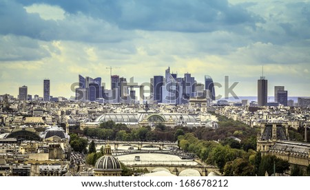 View of business district La Defence in Paris, France - stock photo
