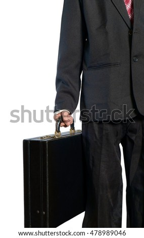 View of businessman holding leather suitcase on white background.