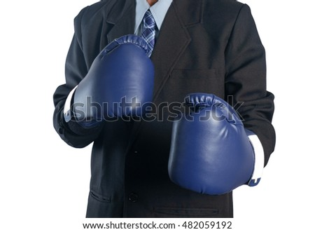 View of businessman with boxing glove on white background.