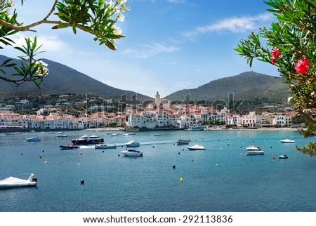 View of Cadaques village on Mediterranean seaside, Costa Brava, Catalonia, Spain - stock photo
