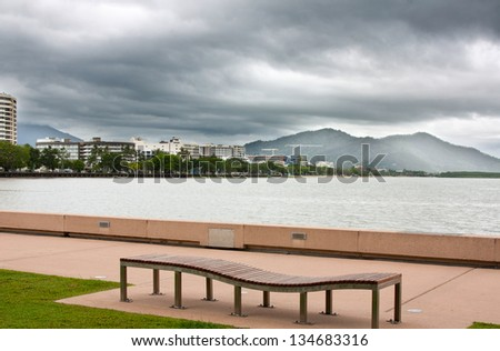 view of Cairns looking toward the hospital - stock photo