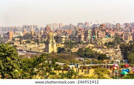 View of Cairo from Al-Azhar Park - Egypt - stock photo