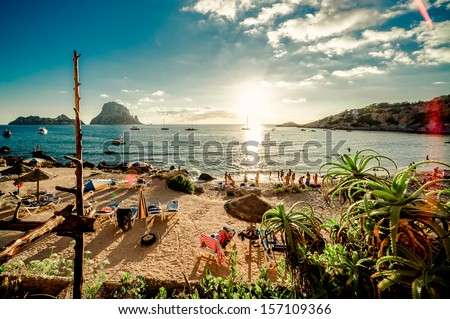 View of Cala d'Hort Beach, Ibiza - stock photo