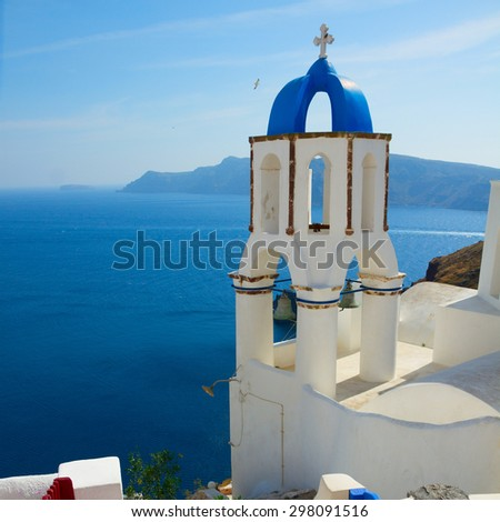 view of caldera with stairs and belfry, Oia, Santorini