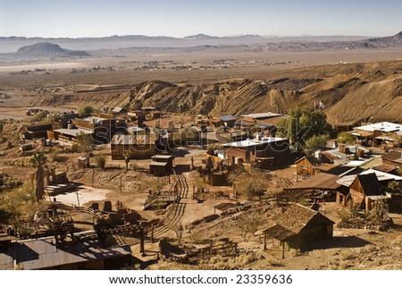 View of Calico, California...a ghost town and San Bernardino County Park - stock photo