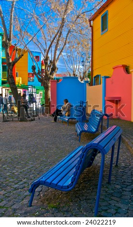 View of Caminito Street in Barrio de La Boca in Buenos Aires, Argentina. This is a popular tourist destination. - stock photo