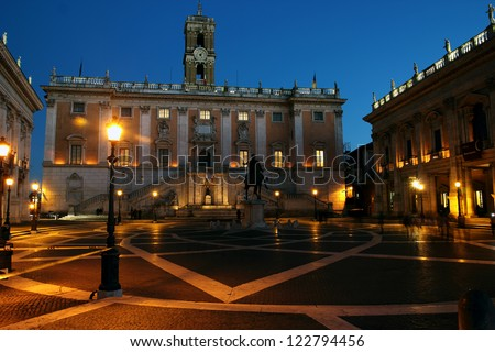 View of Campidoglio on Capitol Hill at night, Rome, Italy