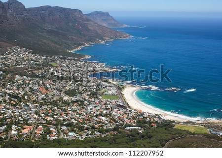 View of Camps Bay, Cape Town, South Africa - stock photo