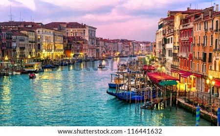 View of Canal Grande from Rialto bridge, Venice, Italy - stock photo
