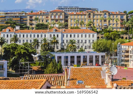 View of Cannes from the Place de la Castre in Cannes, Cote d'Azur, France, Europe - stock photo