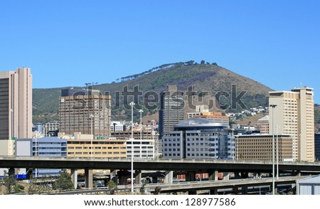 View of Cape Town with Signal Hill in the background