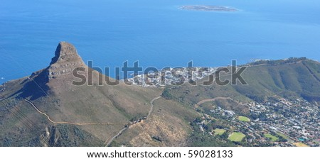 View of Capetown from Table Mountain. South Africa - stock photo