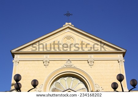 View of Cappuccini church in San Remo, Italy  - stock photo