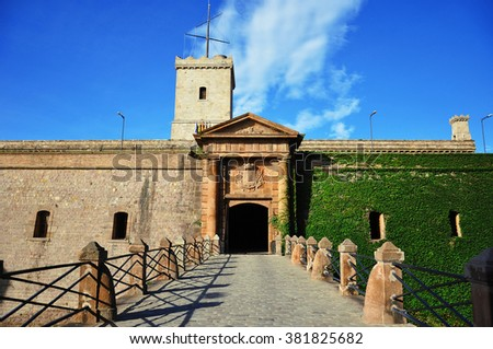 View of Castillo de Montjuic on mountain Montjuic in Barcelona, Spain - stock photo