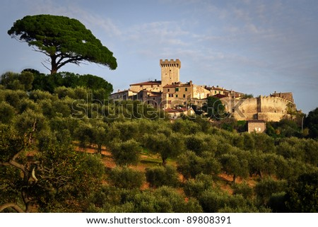 View of castle of Capalbio surrounded by beautiful tuscany countryside