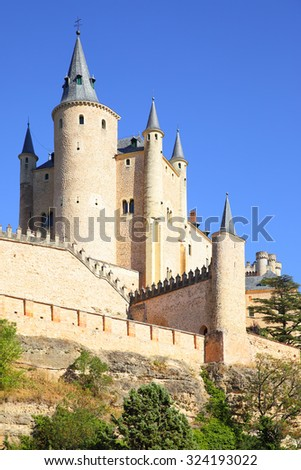 View of Castle of Segovia (Alcazar), Spain - stock photo