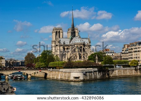 View of Cathedral Notre Dame de Paris - a most famous Gothic, Roman Catholic cathedral (1163 - 1345) on the eastern half of the Cite Island. Paris, France. - stock photo
