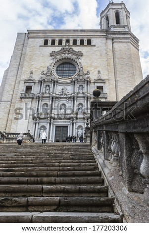 View of Cathedral of Saint Mary of Girona - cathedral church of Roman Catholic Diocese of Girona, Catalonia, Spain. Its construction was started in 11th century and was completed in 18th century.