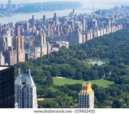 View of Central Park and the Central Park West skyline in New York City - stock photo
