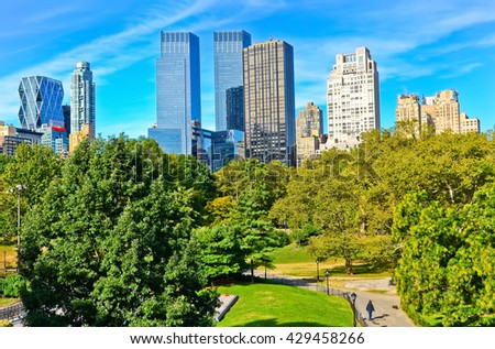 View of Central Park in a sunny day in New York City. - stock photo